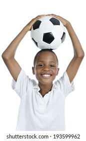 African Boy with Football smiling, Studio Shot, Isolated