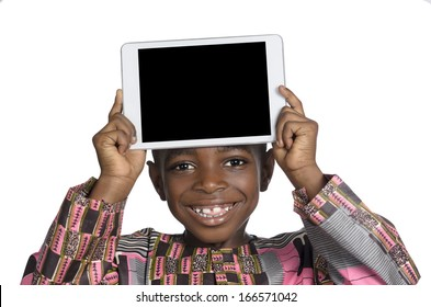 African Boy showing Tablet PC, Free Copy Space, Studio Shot