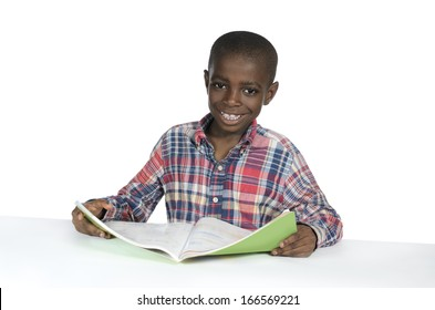 African Boy with Text Book, Studio Shot