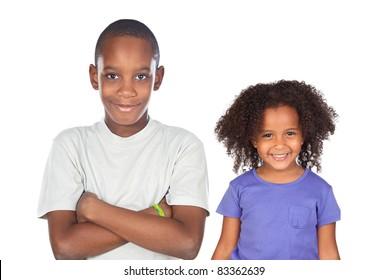 African brothers children isolated on a over white background