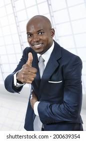 African business man thumb up, Studio Shot