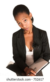 African business woman dressed in black jacket. Holding file.