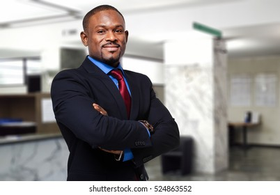 African businessman in his office
