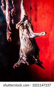 African butchery - Dead goat meat hanging for sale