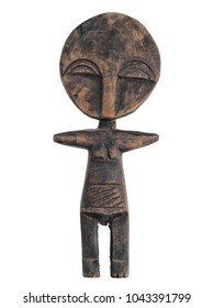African carved wooden female fertility doll, isolated on white background.