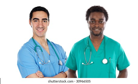 African and caucasian doctors a over white background