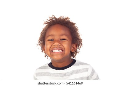 African child making a forced smiling isolated on white background