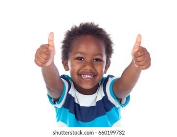 African child saying Ok isolated on white background