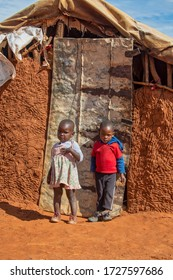 African children in front of the house in a village in Botswana