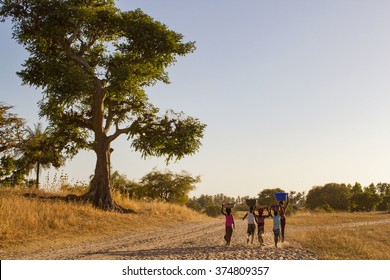African children going back to the village. Senegal, Africa