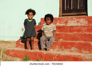 African children playing outside