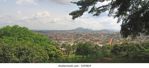African city in tropical mountains - Cameroon - Africa - Panorama.