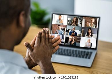 Afrikanisches Aufklappen in virtuellen Videokonferenzen auf Computer