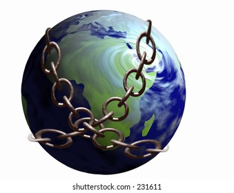 The African continent locked in metal chains.  See my gallery for similar images.