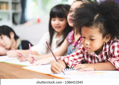 African cute kids studying  at home, kids education concept