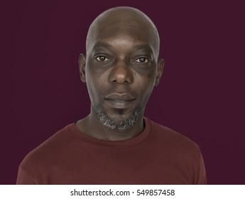 African Descent Man Serious Closeup Concept
