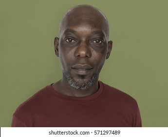 African Descent Man Serious Closeup Concept