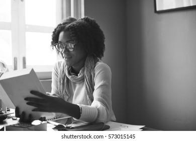 African Descent Reading Searching Design Concept