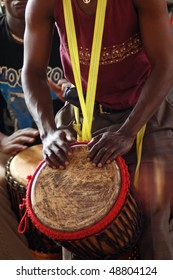 African djembe drummer in action