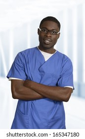 African doctor in blue dress Portrait, Studio Shot