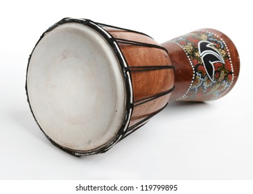 An African drum isolated on a white background