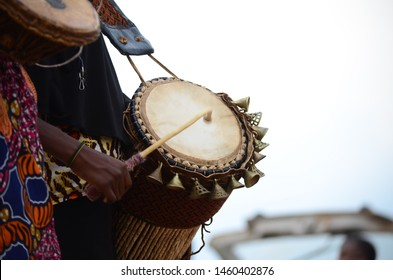 The African Drummer drumming during annual drum festival in Nigeria, April 2019