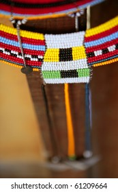 African ethnic colorful jewellery necklaces with selective focus