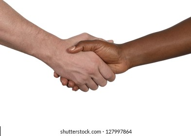 African and european hands, studio shot, isolated