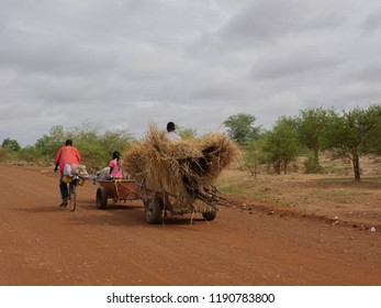 African farmers on the cart pulled by a donkey
