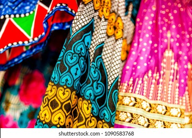 African fashion fabric in different colours in Watamu / Kenya / Africa