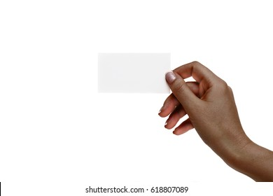 African female hand holds white card on a white background.
