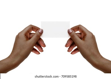 African female hands hold white card on a white background.