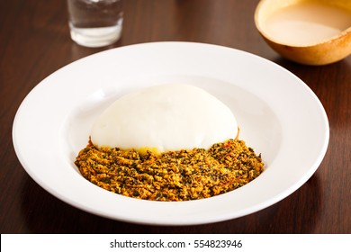 African Food of FuFu and Pounded Yams with Palm Drink