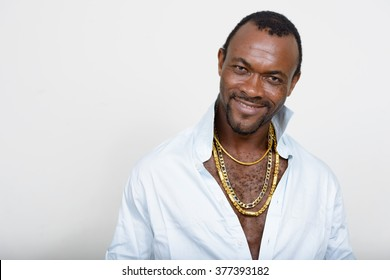 African gangster smiling