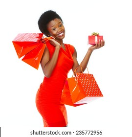African girl with Christmas gifts isolated white background