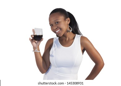 African Girl Drinking Red Wine on white background