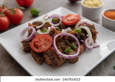 African Grilled Meat Dish. Nigerian Meal, BBQ Dish. Grilled Food Meat Dish recipe meal Cooked Meal