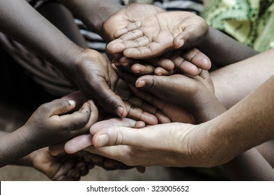African Hands Cupped (World Social Issues) Health Problems Symbol. African Children in developing countries suffer most from this problem, that causes malnutrition and health problems.