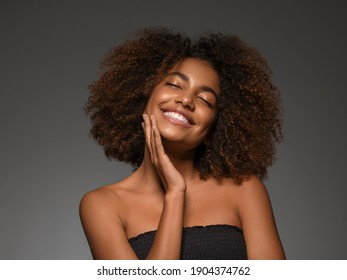 African happy woman beautiful young girl smile face