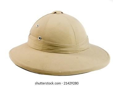 African hunter hat on white ground