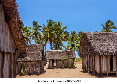 African huts in a typical village along the  Pangalanes canal, eastern Madagascar