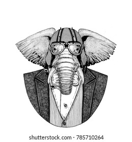 African or indian Elephant Animal wearing jacket with bow-tie and biker helmet or aviatior helmet. Elegant biker, motorcycle rider, aviator. Image for tattoo, t-shirt, emblem, badge, logo, patch