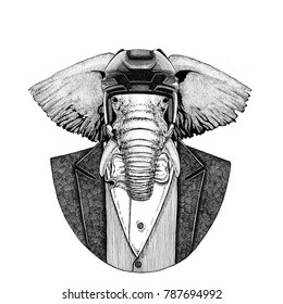African or indian Elephant Animal wearing jacket with bow-tie and hockey helmet or aviatior helmet. Elegant hockey player. Image for tattoo, t-shirt, emblem, badge, logo, patch