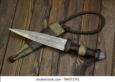 African islamic dagger with snake and camel leather
