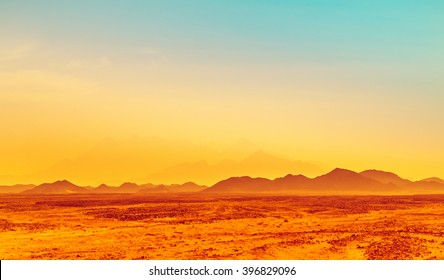 African landscape in bright colors - hot climate in stone desert with silhouettes of hills on the horizon. Safari in Sahara - exotic adventure or extreme travel in arid wilderness.