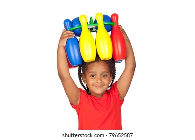 African little girl with with a bowling game on his head isolated on a over white