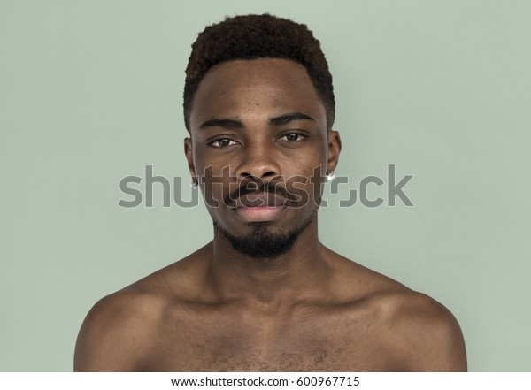African Man Bare Chest Serious Cold Portrait