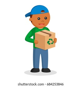 african man environmental activist with recycle box