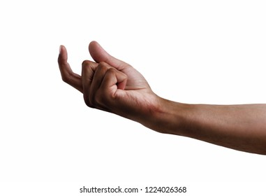 African man hand beckoning isolated on white