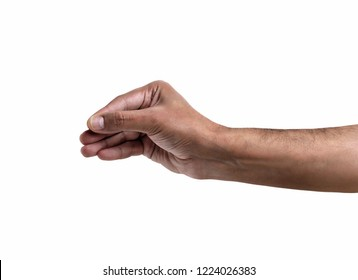 African man hand hanging something blank isolated on a white background
